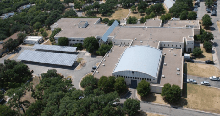 A solar photovoltaic system on a carport at Camp Mabry in Austin. Image courtesy of the Texas Comptroller of Public Accounts.