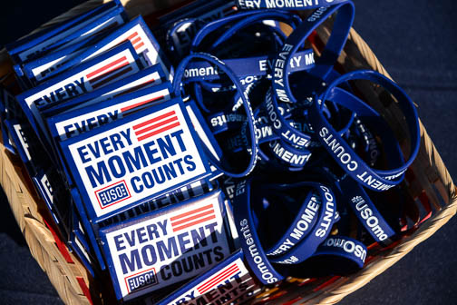 Give-aways at the veterans benefits fair. Photo by Annette Crawford.
