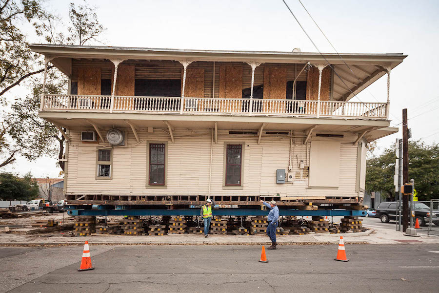 The Boehler House raised more than feet for it's move on Wednesday. Photo by Scott Martin.