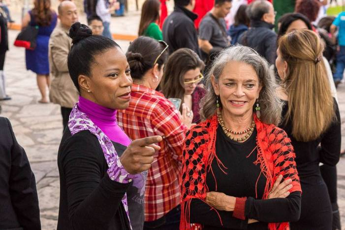 Paula Sullivan and artist Kathleen Trenchard at the 3rd annual Flamenco Flashmob in front of the Alamo, November 2014. Photo by Matt Bynum.