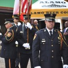 Color Guard of the San Antonio Professional Firefighter Association presents the Texan and American flags. Photo by Iris Dimmick.