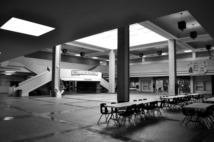 The main building's atrium at Brackenridge High School. Photo by Iris Dimmick.