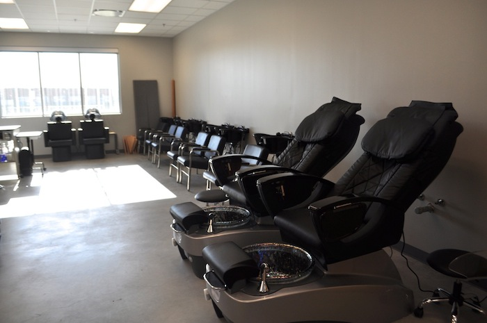 Brand new massage and pedicure chairs await cosmetology students at Brackenridge High School's Career and Technology Education building. Photo by Iris Dimmick.