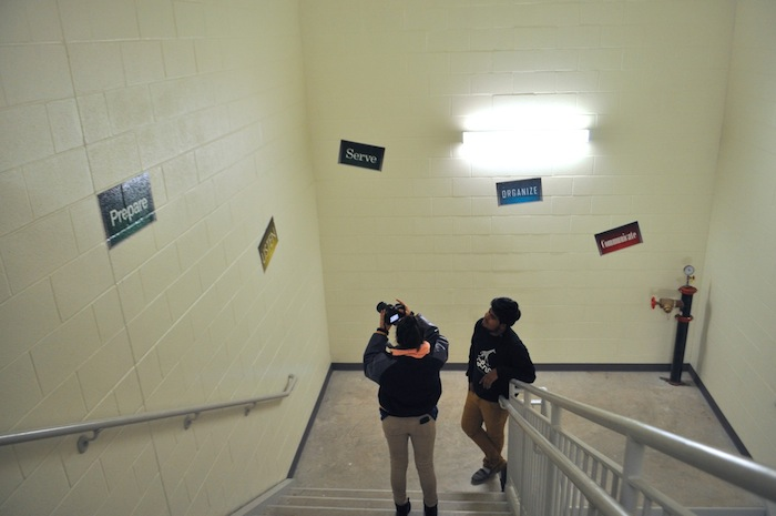 Students work with cameras for a video production class in Brackenridge High School's Career and Technology Education building. Photo by Iris Dimmick.