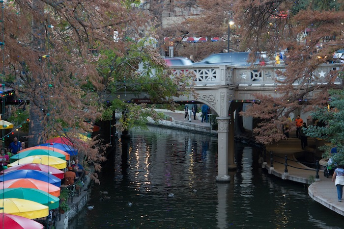 The Commerce Street Bridge over the River Walk in downtown San Antonio. Photo by Mike Patterson.