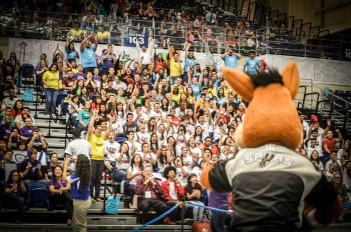 The Spurs Coyote gets the crowd of local high school seniors on their feet during College Signing Day at The University of Texas at San Antonio. Photo courtesy of SA2020.
