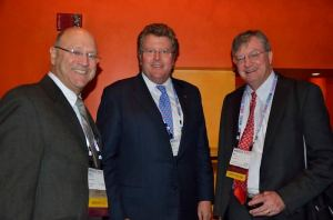 From left: StemBioSys Co-Founder Dr. Steven Davis, Vice Chairman of San Antonio Economic Development Foundation Don Frost, StemBioSys CEO Bob Hutchens, visit during the 2014 World Stem Cell Summit. Photo by Cherise Allegrini.