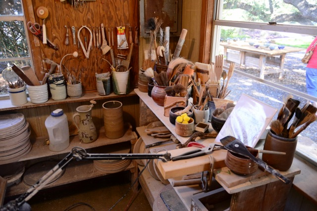 Inside Dudley Harris' pottery studio. Photo by Page Graham.