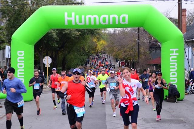 Marathon participants run down North Main in Monte Vista. Photo by Page Graham.