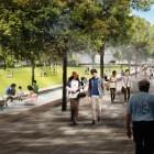 Rendering of Hemisfair's Civic Park promenade. Courtesy rendering.