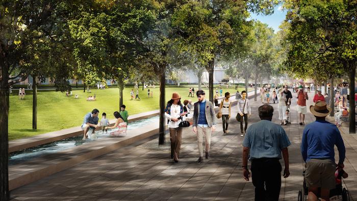 Rendering of Hemisfair's Civic Park promenade.  Rendering courtesy of Gustafson Guthrie Nichol