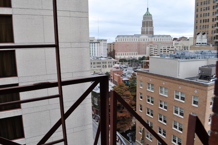 View from the ninth (top) floor fire escape of the Maverick Building. Photo by Iris Dimmick.