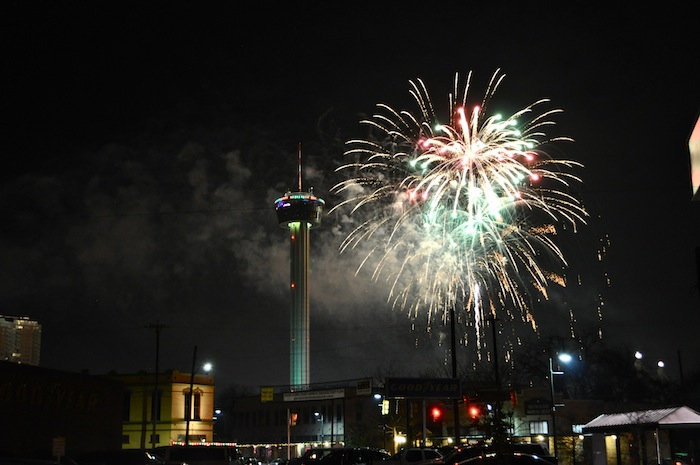 New Years Eve fireworks seen from Southtown on Jan. 1, 2014. Photo by Iris Dimmick.