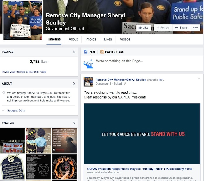 """Screenshot of the """"Remove City Manager Sheryl Sculley"""" Facebook page."""
