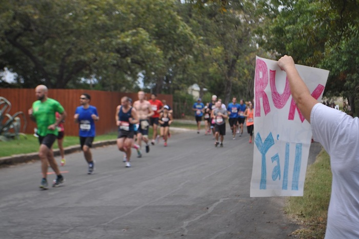 Friends encourage runners during the 2013 Rock 'n' Roll Marathon in King William. Photo by Iris Dimmick.