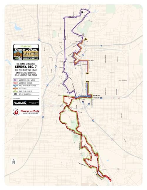 Rock n roll marathon route map sunday dec. 7