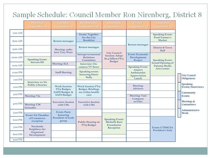 A one-week sample from District 8 Councilman Ron Nirenberg's schedule. Chart created by Heather Riddle with permission from Nirenberg's chief of staff.