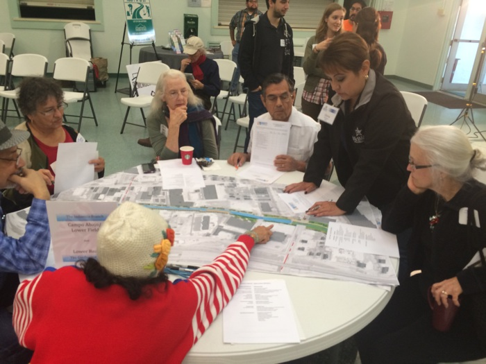 Participants in the San Pedro Creek Improvement Project shared ideas and concerns about the proposed project. Photo by Katherine Nickas.