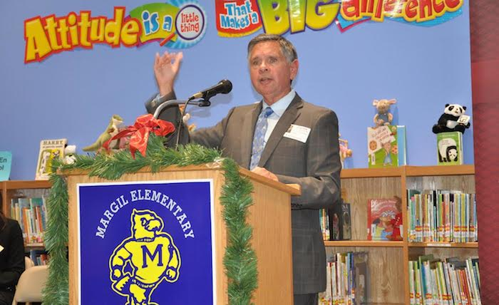 ohn D. Gonzalez, president and CEO of JDG Associates, speaks at the San Antonio Hispanice Chamber of Commerce event at Margil Elementary School. Courtesy photo.