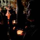 Mark Hall looks on during a candlelight vigil on the one year anniversary of Cameron Redus' death. Photo by Scott Ball.
