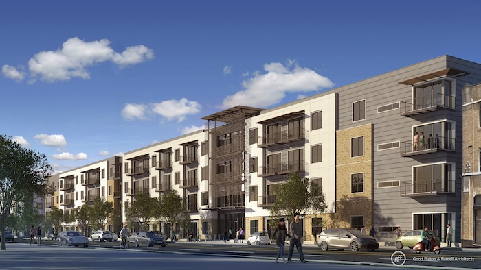 Rendering of what the Rivera apartment complex will look like on Broadway Street. Image courtesy of Good Fulton & Farrell.