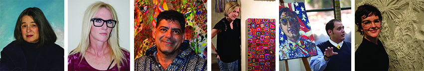 The six artists that will present at the McNay. From Left to Right: Sylvia Benitez, Elizabeth Carrington, David Anthony Garcia, Allison Gregory, Rex Hausmann, Leigh Anne Lester.