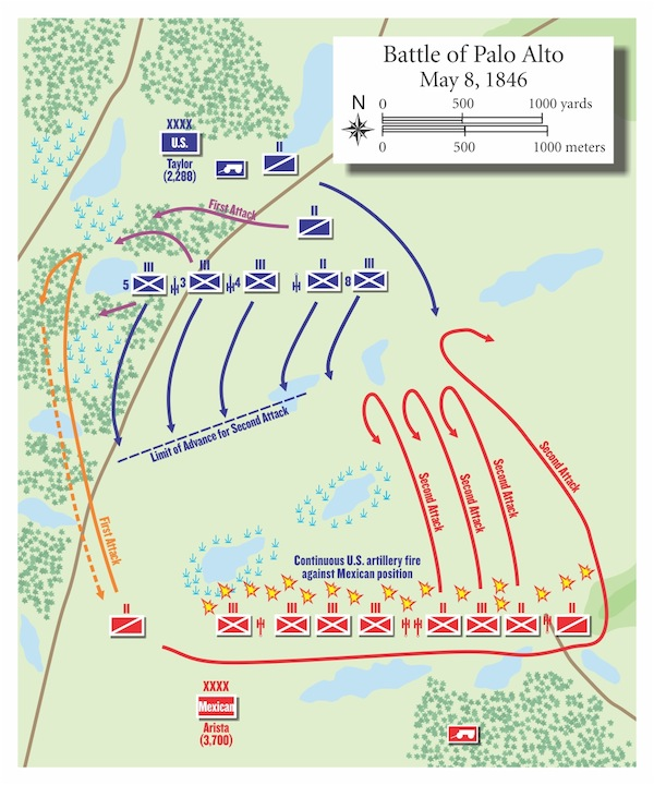 Map of the Battle of Palo Alto courtesy of Armchair General.