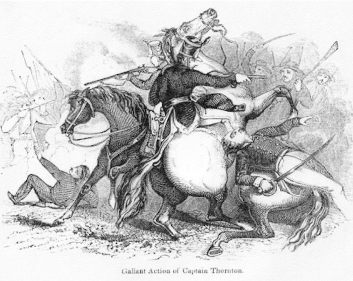 April 25, 1846. Capt. Seth Thornton and his 55 U.S. Army dragoons struggle to fend off Gen. Anastasio Torrejón's 1,600 Mexican soldires after being ambushed on the north bank of the Rio Grande River somewhere northwest of the Mexican city of Matamoros. This incident was the first fight of the Mexican-American war.