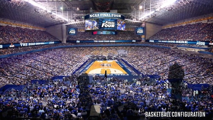 The new Alamodome basketball configuration, up to NCAA standards. Rendering courtesy of the City of San Antonio.