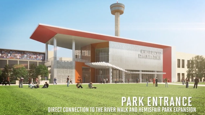 Rendering of the new entrance to the new Convention Center off of Hemisfair's Civic Park.