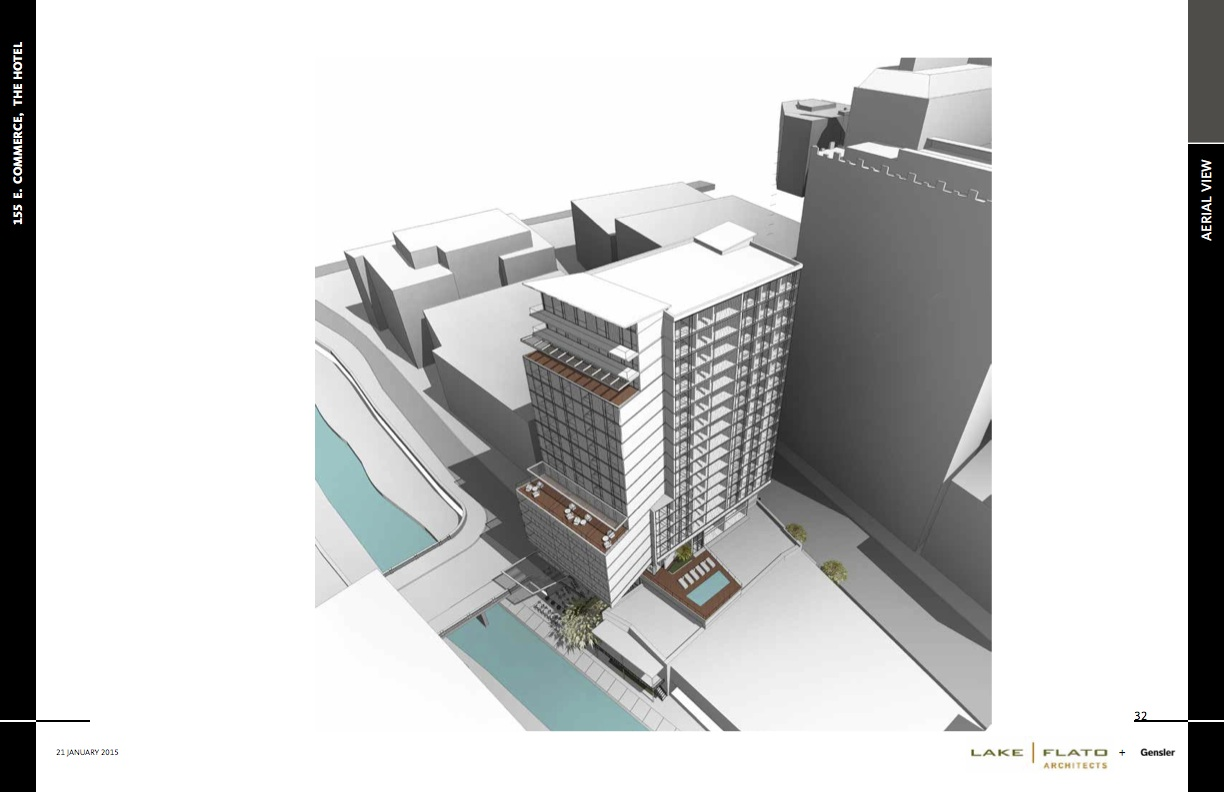 Aerial view of the proposed 18-story hotel downtown. Rendering courtesy of Lake/Flato Architects and Gensler.