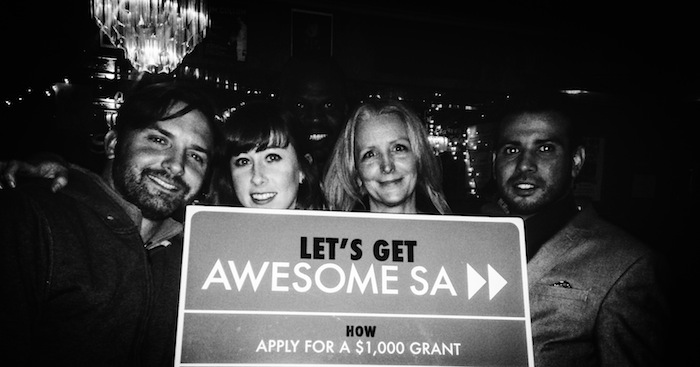 The AME Collective team, (from left) Benjamin McVey, Shannon Gowen, Michel Jacob, and Rey Silva, celebrates their Awesome SA grant win. Courtesy photo.