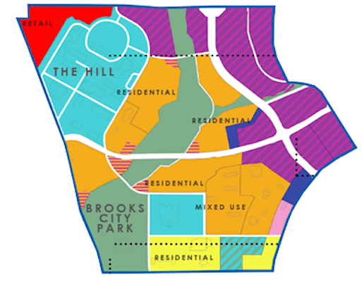 District A at Brooks City-Base would include retail, schools, hike and bike trails, and more. Courtesy image