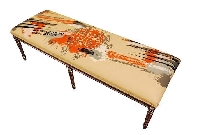 One of the four textile benches by Elizabeth Carrington to be presented at the McNay. Courtesy image.