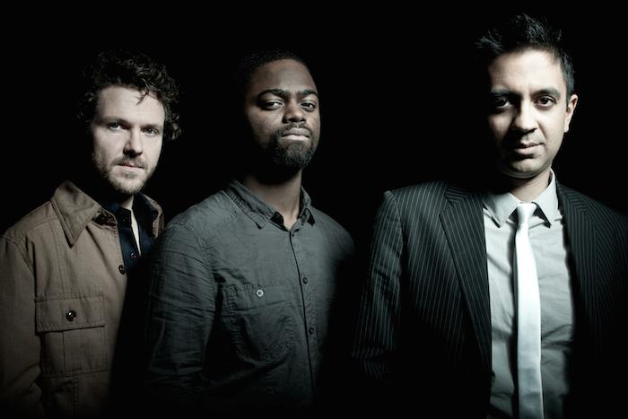 Stephan Crump, Marcus Gilmore, and Vijay Iyer form the Vijay Iyer Trio. Image courtesy of Juan Hitters/ECM Records.