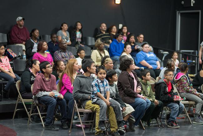 Participants watch DreamWeek presentations at SaySí. Photo by Sarah Brooke Lyons.