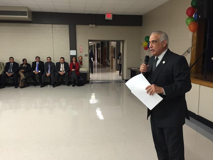 SAISD Superintendent Dr. Sylvester Perez emcees the Board Appreciation Ceremony. Photo by Robert Rivard.