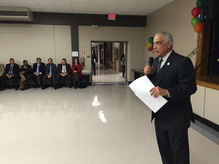 SAISD Superintendent Dr. Sylvester Perez emcees the Board Appreciation Ceremony. Photo by Robert Rivard.