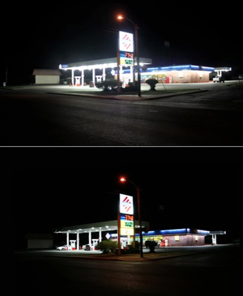 A Stripes gas station in Alpine, Texas that retrofitted its lights to comply with local ordinance. Photo courtesy of McDonald Observatory.