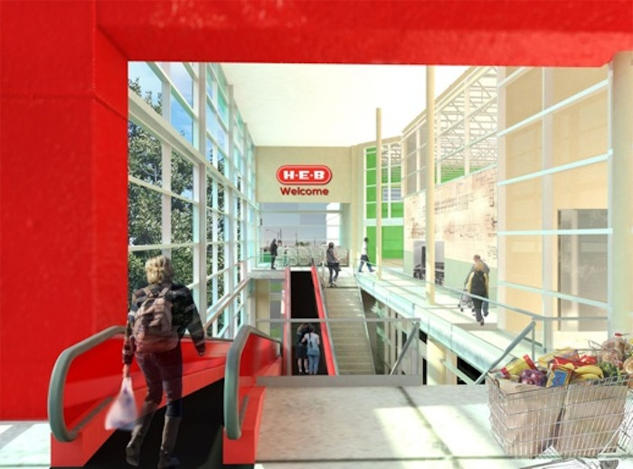 """The second level of the new H-E-B on Nogalitos Street is accessible via elevator, stairs, or the cart-friendly """"travelators"""" shown here. Courtesy rendering."""