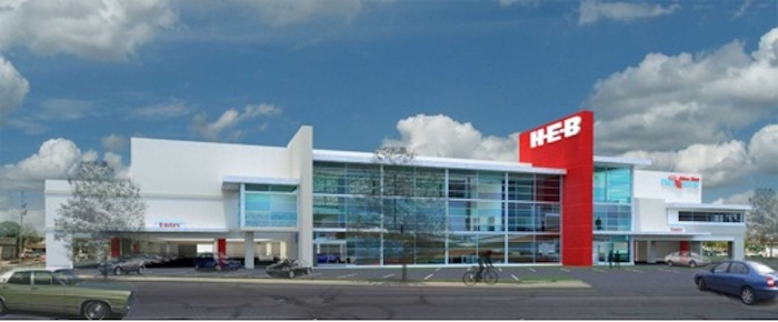 H-E-B's new two story shopping center on Nogalitos Street features a parking garage and drive-thru pharmacy under an enlarged shopping floor. It is the first multistory H-E-B store in Texas. Courtesy rendering.