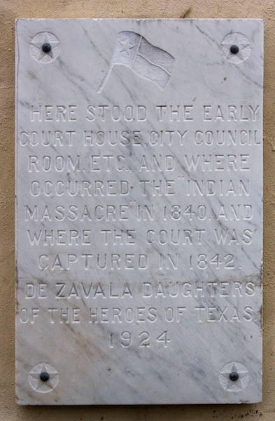 Historical marker at site of the Council House Fight. Photo by Mike Patterson.