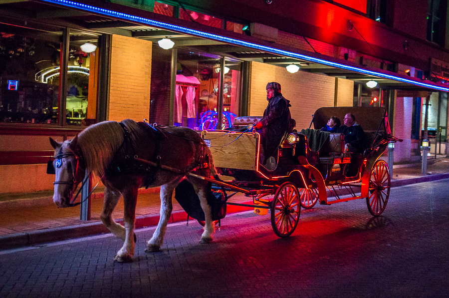 A driver leads his horse and carriage filled with passengers in downtown San Antonio. Photo by Scott Ball.