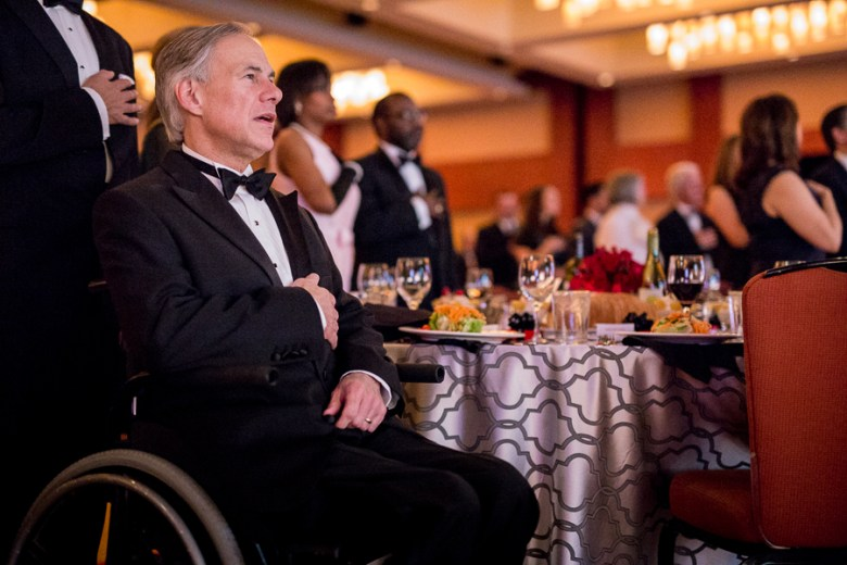 Gov. Greg Abbott sings along to the National Anthem at the 86th annual San Antonio Hispanic Chamber of Commerce Gala. Photo by Scott Ball.