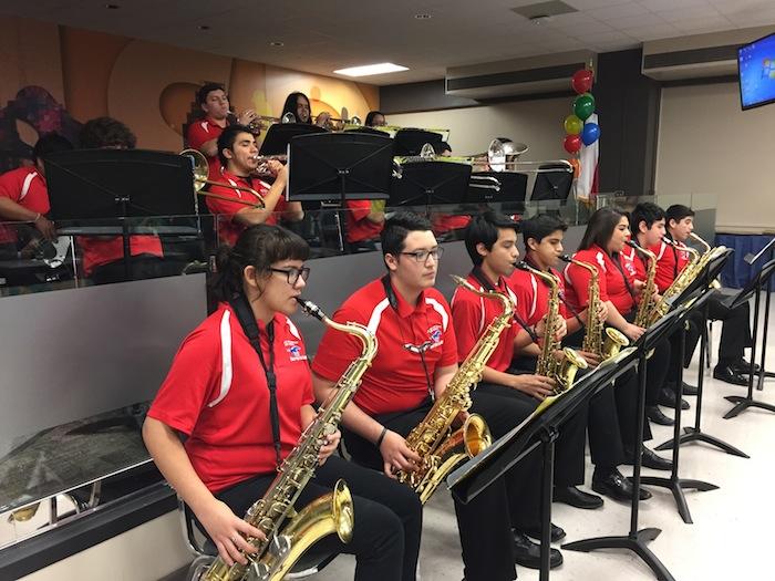 Jefferson Jazz Ensemble offers its take on a Stevie Wonder soul classic at the SAISD Board Appreciation Ceremony. Photo by Robert Rivard.