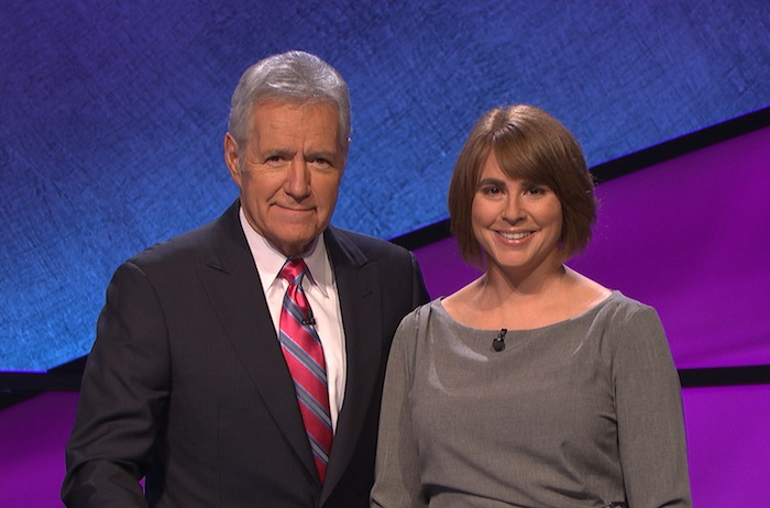 Alex Trebek and Jennifer Hindert. Courtesy of Jeopardy!/Sony Pictures and Entertainment.