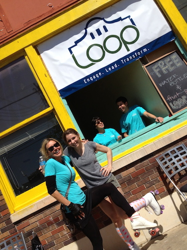 Rachel Holland and fellow LOOP members participate in a Better Block event. Courtesy photo.