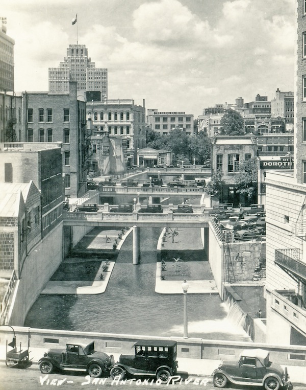 The finished flood chanel of the San Antonio River through downtown in 1930. Historic photo courtesy of Lewis Fisher.