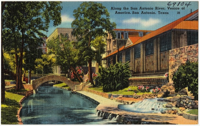 """A postcard from San Antonio, described as the """"Venice of America."""" Image courtesy of Boston Public Library. https://www.digitalcommonwealth.org/search/commonwealth:zk51w360b"""