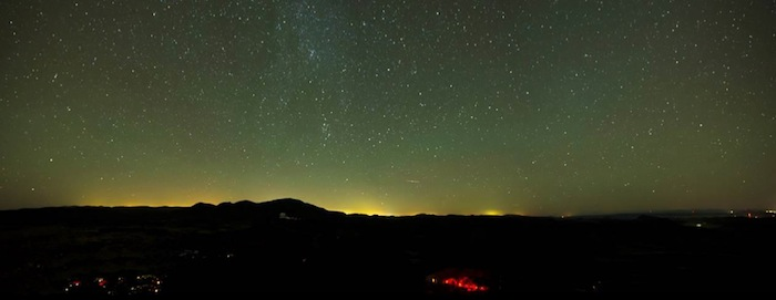 The light pollution from cities spills over into the Texas Hill Country. Photo courtesy of McDonald Observatory.